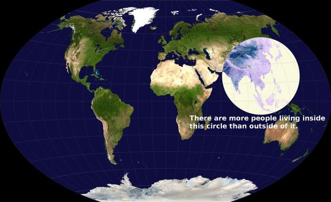 La majorité de la population mondiale vit dans ce cercle